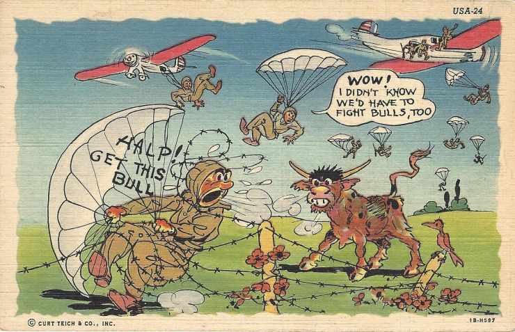 WWII comic postcard, skydiker tanglen in barbed wire.