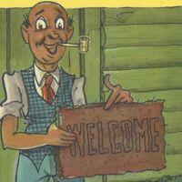 Comic welcome mat postcard