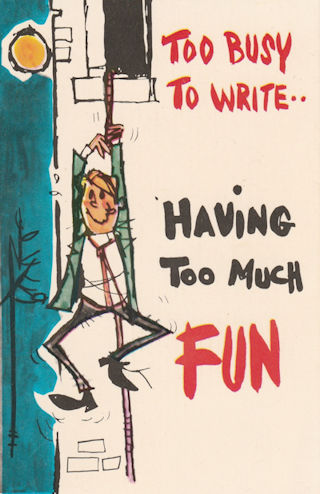 """""""Having too much fun"""" old postcard"""