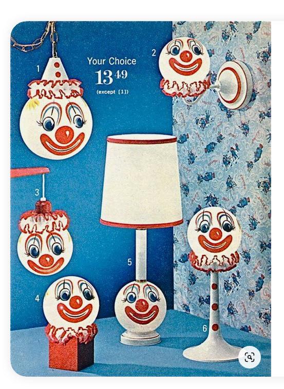 Nightmare inducing clown lamps