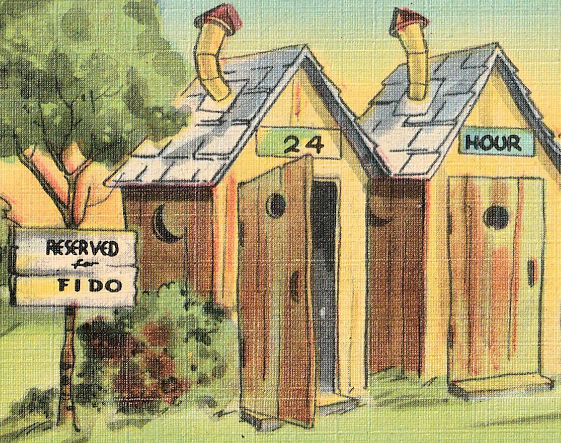 Two outhouses and a tree for the dog to pee on. Vintage corny postcard humor.