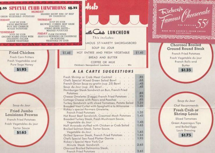 Ricky's Palo Alto 1948 menu cheesecake