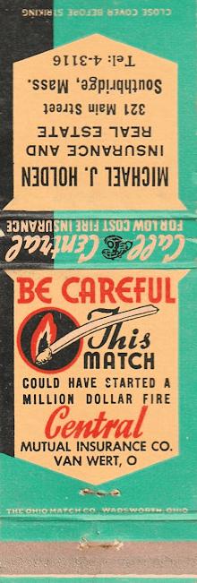 Michael J. Holden Fire Insurance promotional matchbook.