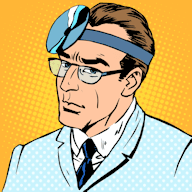 Retro doctor with reflector on head.