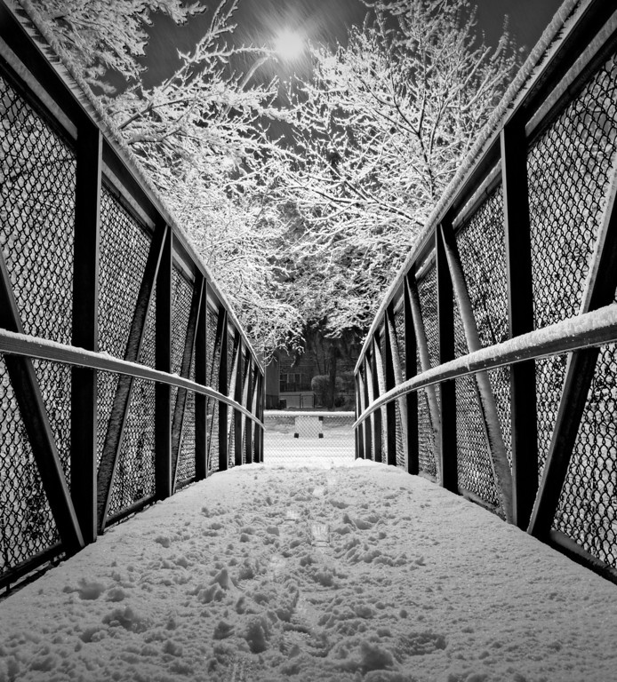 On the snowy bridge