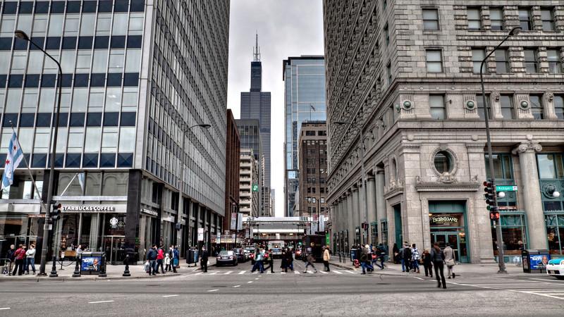 People crossing Adams near Art Institute