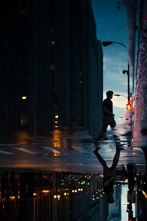 Man into night