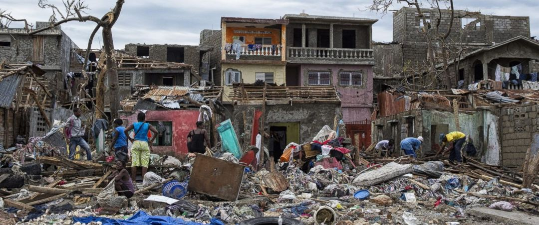 Homes destroyed in Haiti after Hurricane Matthew