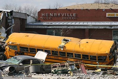 Damage to Henryville High School after March tornados
