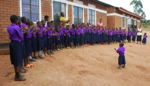 Students lineup near the school in Kabale.