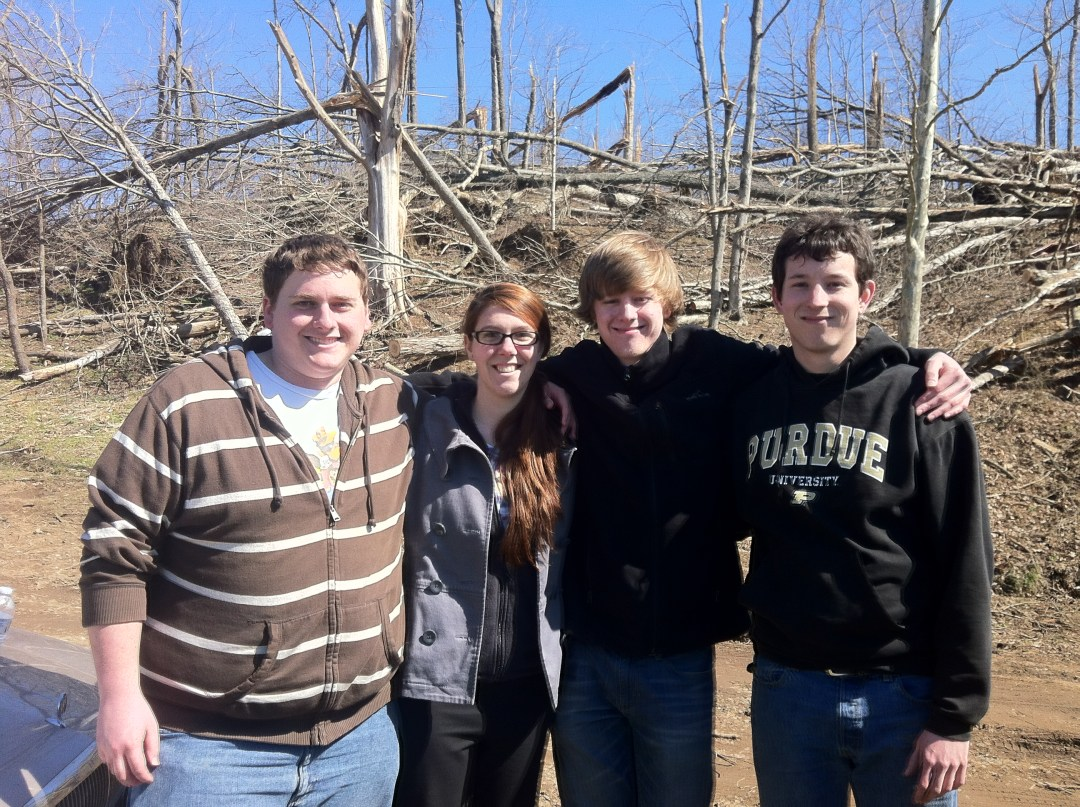 Purdue students pose for a photo after volunteering in Henryville, IN