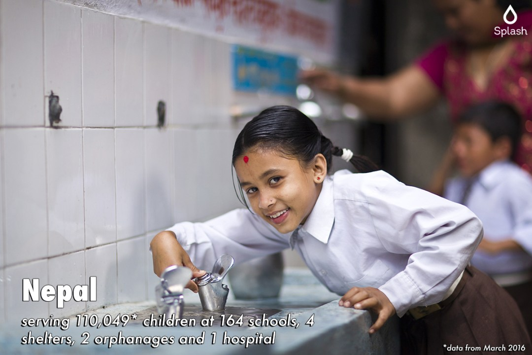 Splash serving 110,049 children at 164 schools, 4 shelters, 2 orphanages and 1 hospital and 1 hospital in Nepal