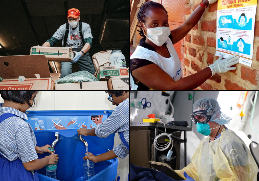 4 panel image showing Never Settle partners in action during Coronavirus pandemic