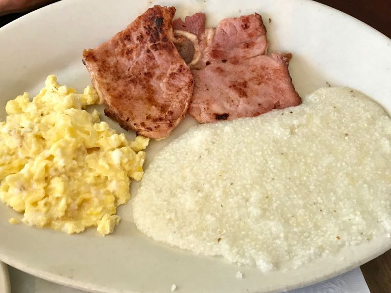 Ham steak, scrambled eggs and grits | nevertooldtotravel.com | Gary House