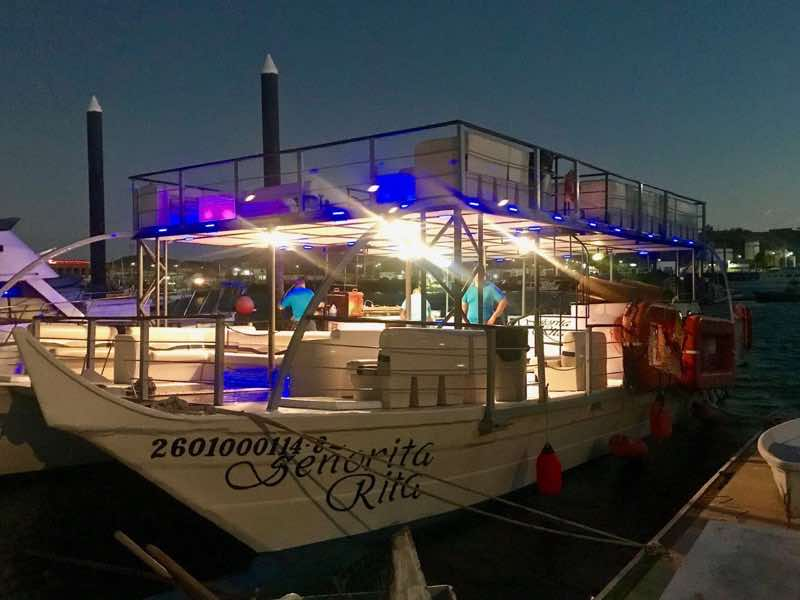 Señorita Rita all lit up for a evening sunset cruise | Nevertooldtotravel.com | Gary House