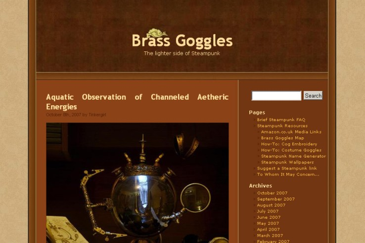 Brass Goggles website