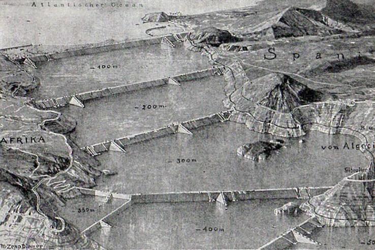 Atlantropa Gibraltar dams map