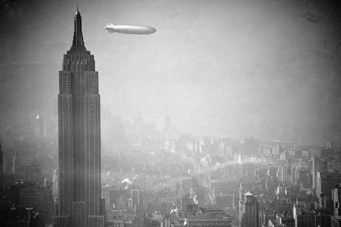 Hindenburg airship over New York