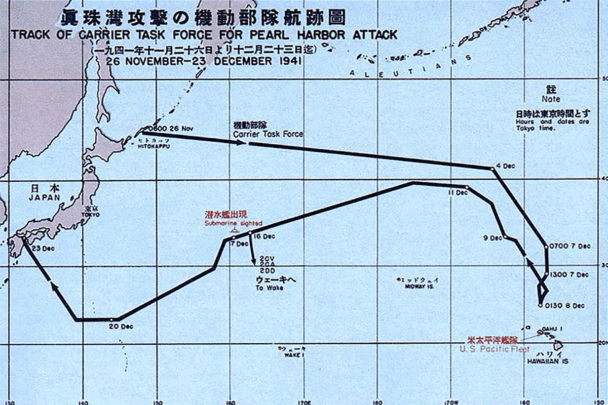 1941 Pearl Harbor attack map
