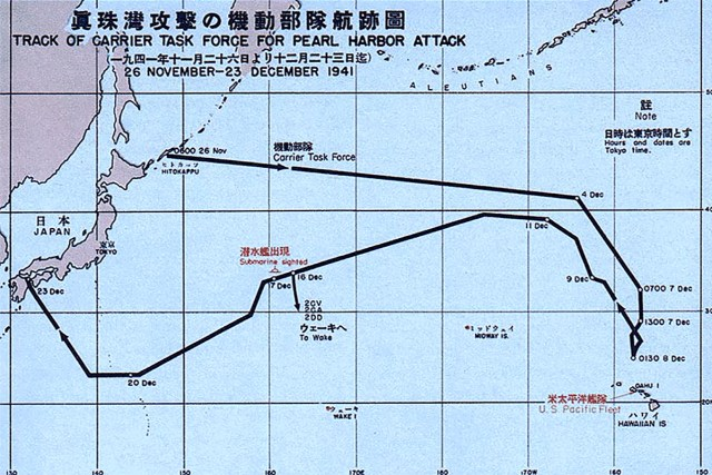 1941 Pearl Harbor attack map