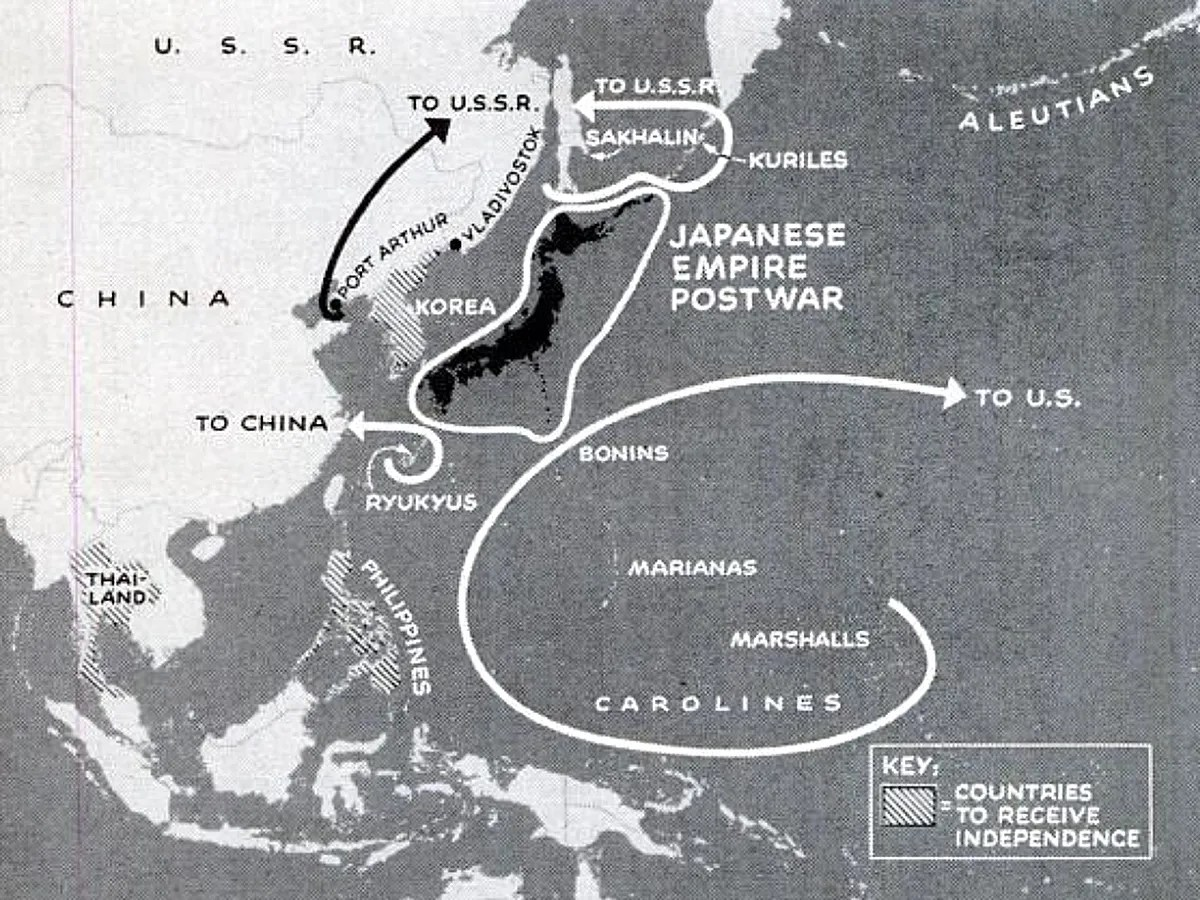 Dismemberment of the Japanese Empire map
