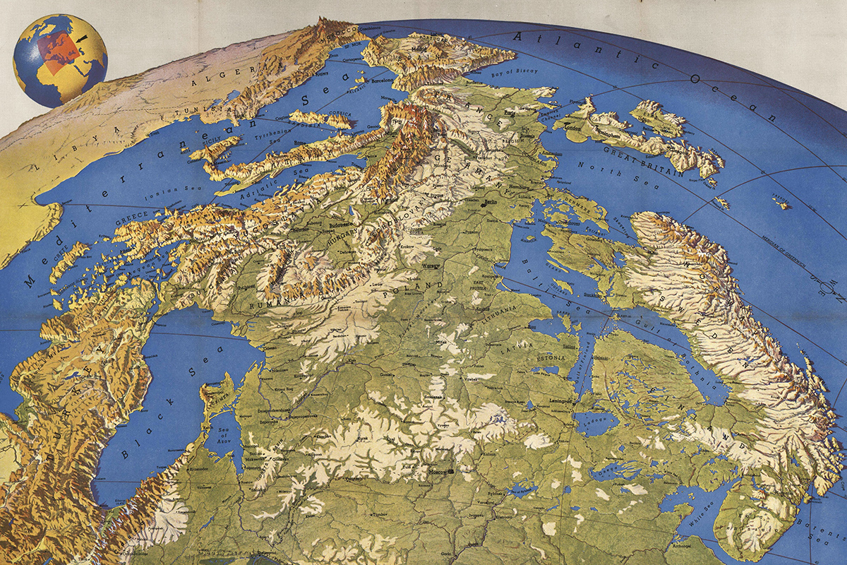 Europe viewed from Russia map