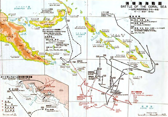 Battle of the Coral Sea map