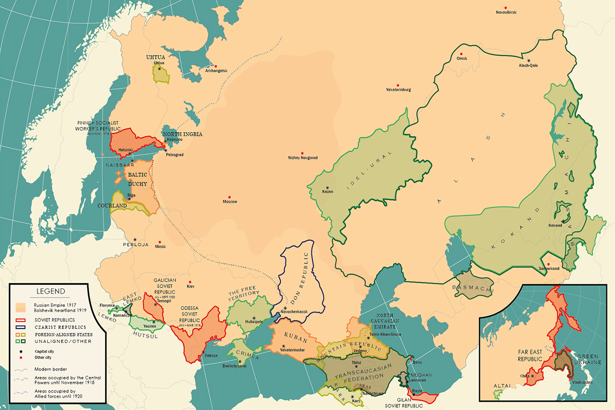 Ephemeral States of the Russian Civil War map