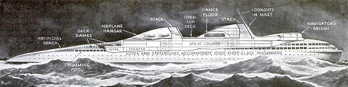 Norman Bel Geddes ocean liner cutaway