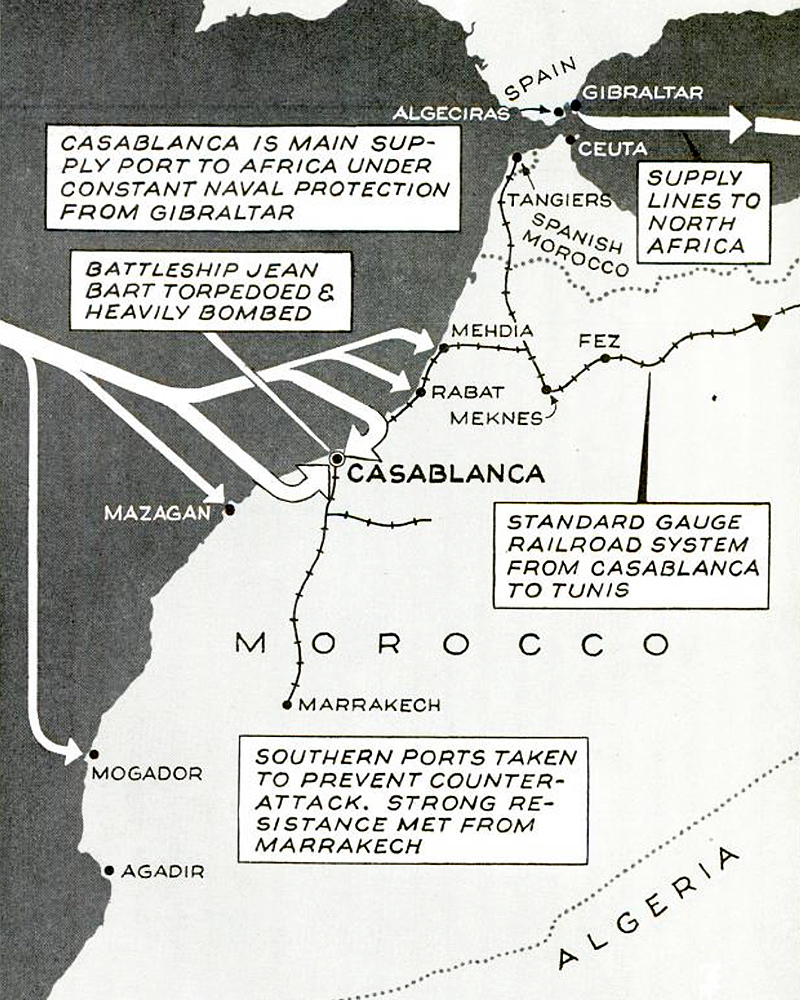 Allied invasion Morocco map