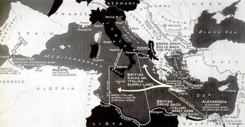 British strategy Mediterranean map