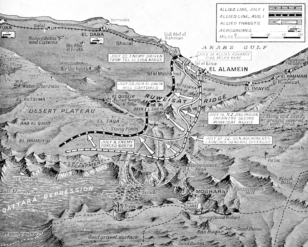 First Battle of El Alamein map