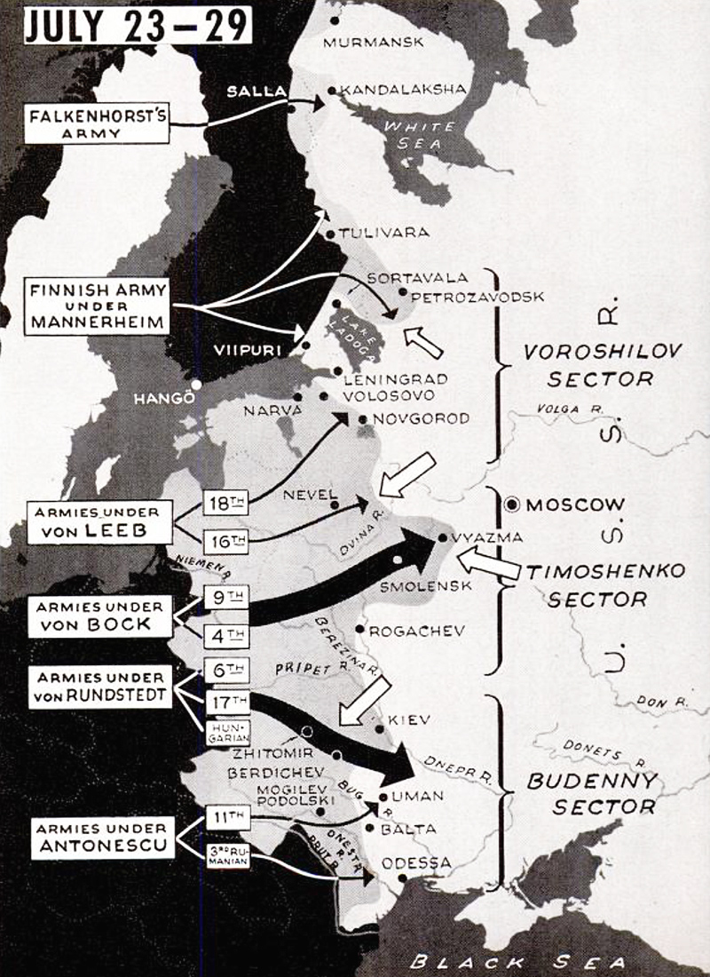 German invasion Soviet Union map