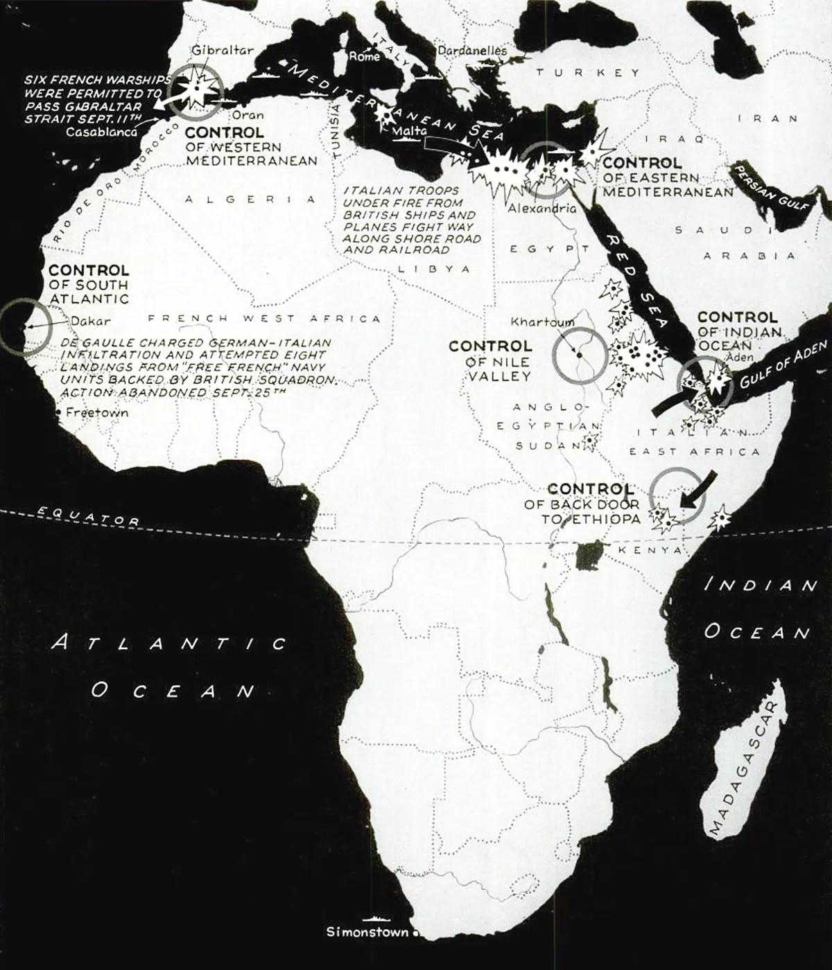 Second World War Africa map