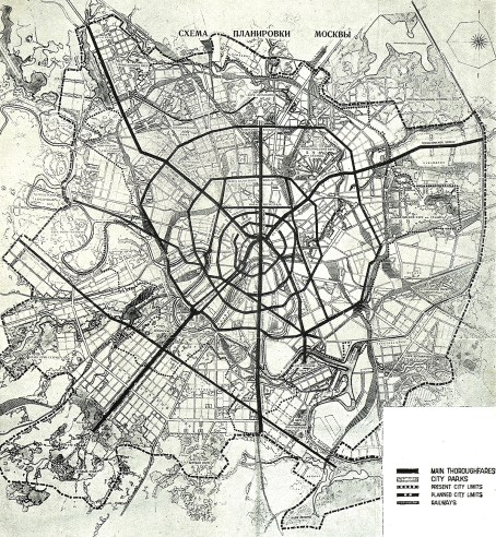 1935 General Plan for Reconstruction Moscow map