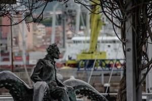 Monument to Jules Verne Vigo Spain