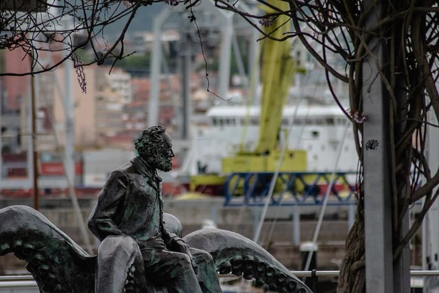 Monument to Jules Verne Vigo Spain