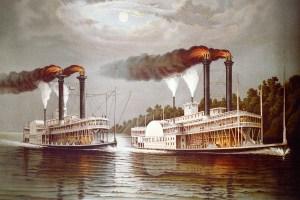 Natchez Robert Lee steamboats painting