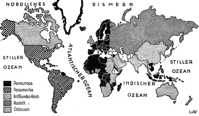 Richard von Coudenhove-Kalergi world map