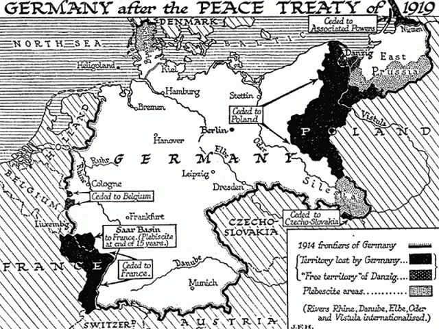 Germany Versailles Treaty map