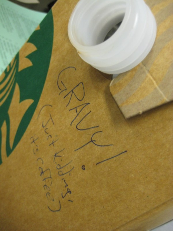 """A box of Starbucks coffee is labelled """"Gravy! (Just kidding, it's coffee)""""."""
