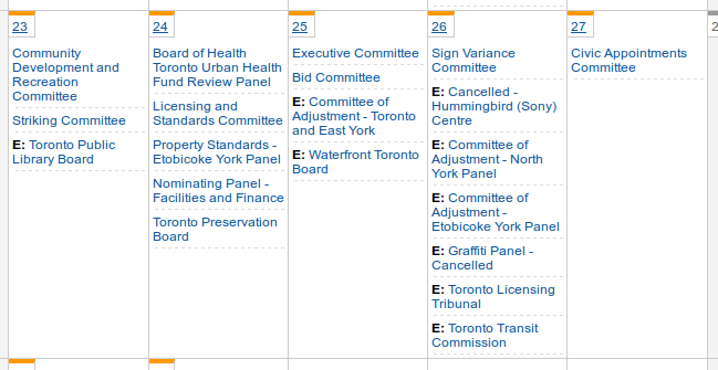 Screenshot of this week's City Hall calendar