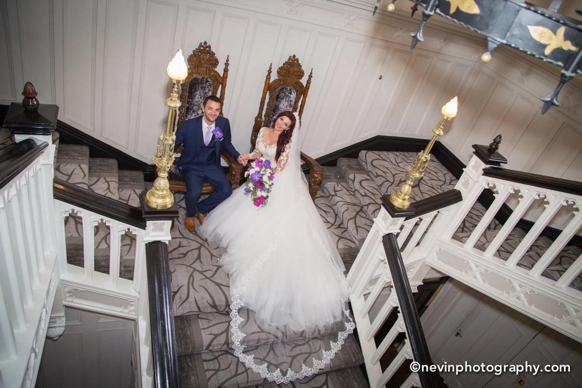 Clontarf Castle Groom and Bride at Clontarf Castle