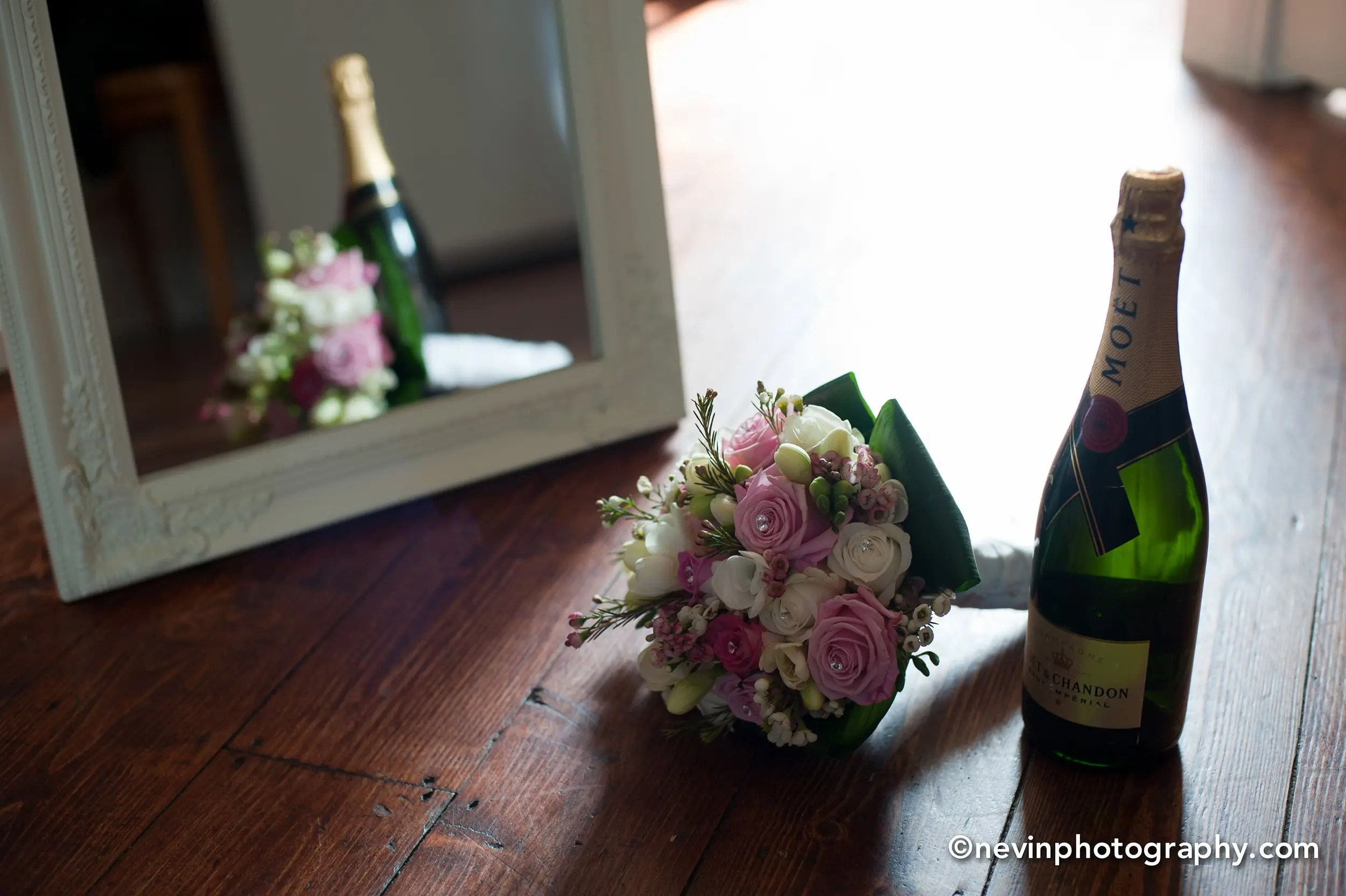 Wedding Bouquet with a bottle of Champagne_5580
