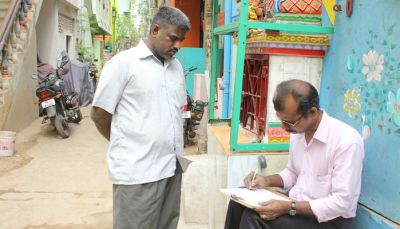 A respondent doing the survey sitting comfortably, Chennai.