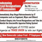 Live : NDLF Demonstration Against Wipro, Cognizant (CTS) Layoffs!