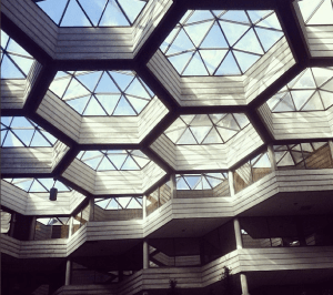 Photo of hexagonal domed glass ceiling