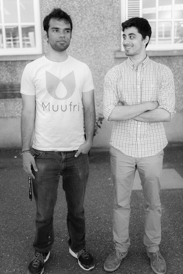 Perumal (in a Muufri t-shirt we designed ourselves) and Ryan just outside the lab in Ireland