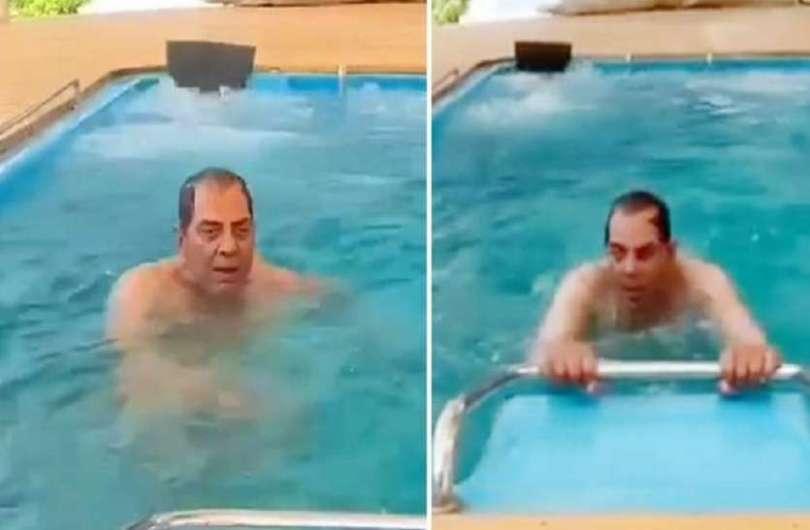 dharmendra shares water aerobics in swimming pool on yoga day