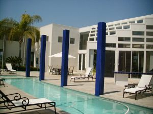 Cobalt blue columns by pool